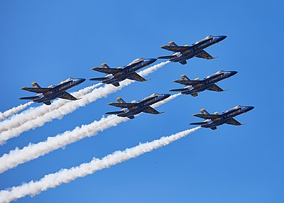 Blue Angels in delta formation during Fleet Week 2018.jpg