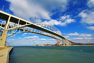 Central Michigan - Port Huron's Blue Water Bridges, an important international crossing.