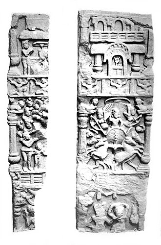 Surya - Surya in the Buddhist Bodh Gaya relief (right, middle).