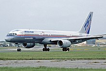 boeing 757 wikipediaside view of silver twin engine jet taxiing on runway, with deployed flaps and