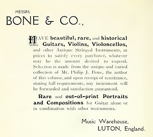 Philip J. Bone - Besides sheet music, Bone also sold musical instruments, as shown in this 1914 advertisement from the back of his book.