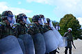 Bosnian-Herzegovinian soldiers form up for crowd rioting control operations Aug. 27, 2014, during Saber Junction 2014 at the Joint Multinational Readiness Center in Hohenfels, Germany 140827-A-AO952-009.jpg