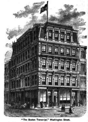 Boston Evening Transcript - The Boston Transcript building rebuilt and enlarged after the Great Boston Fire of 1872