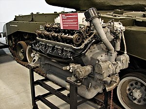 Ford GAA engine - Ford GAF V8 tank engine, next to an M26 Pershing, Bovington Tank Museum
