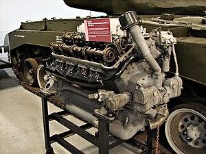 Ford GAA engine - Ford GAF V8 tank engine, next to an M26 Pershing, Bovington Tank Museum