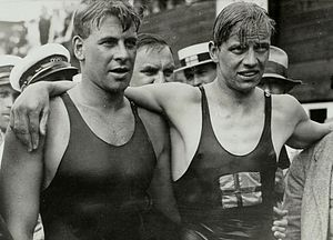 Arne Borg - Arne Borg (right) and rival Boy Charlton at 1928 Olympics