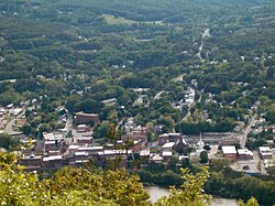 View of downtown Brattleboro from Mount Wantastiquet in New Hampshire.