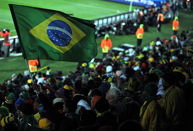 The Brazilian flag at a football match