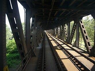 Bressana Bottarone - The bridge over the Po on the Genoa–Milan railway at Bressana Bottarone