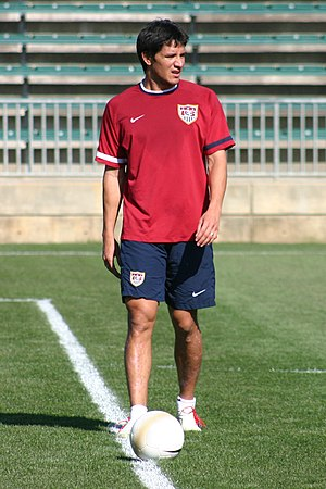 Brian Ching - Brian Ching takes part in U.S. national team practice at SAS Soccer Park Monday, April 10, 2006, in Cary, N.C.