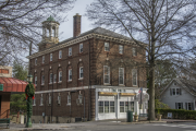 A two-story brick building