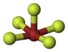 Ball-and-stick model of bromine pentafluoride
