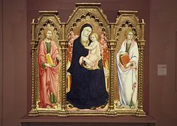 Sano di Pietro: Madonna and Child with Saints James Major and John the Evangelist