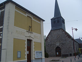 The town hall and church in Bruille-lez-Marchiennes
