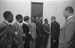 Mengesha Seyoum - A photograph of Seyum Mangasha, second from left, taken on 18 April 1959 in Bonn, Germany