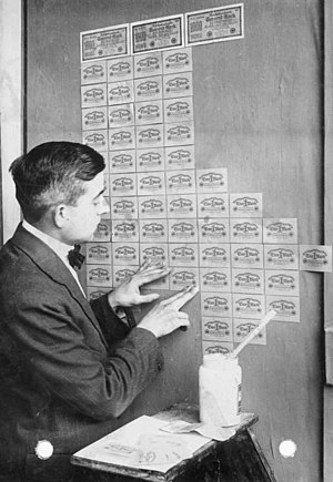 Hyperinflation in the Weimar Republic - Germany, 1923: banknotes had lost so much value that they were used as wallpaper.