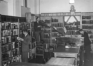 Deutsches Wörterbuch - The Berlin Academy of Sciences staff working to complete the Grimm dictionary, 1952