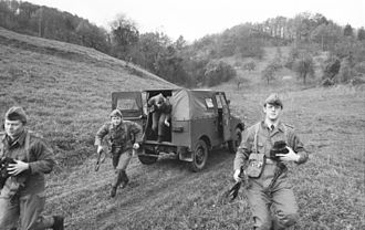 Border Troops of the German Democratic Republic - Grenztruppen during an exercise near Mühlhausen on March 27, 1982.