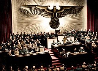 Reichstag (Nazi Germany) - Image: Bundesarchiv Bild 183 1987 0703 507, Berlin, Reichstagssitzung, Rede Adolf Hitler (color)