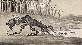 Australian folklore - Bunyip (1935), artist unknown, from the National Library of Australia