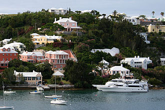 Architecture of Bermuda - White-roofed, colourful houses dot Bermuda's hills.