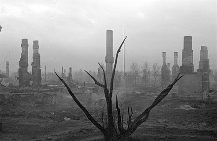 A burnt tree and ruins in Rovaniemi pictured on 16 October 1944 after the German withdrawal Burned tree and ruins.jpg