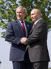 Presidents Bush and Putin at the 33rd G8 summit, June 2007.