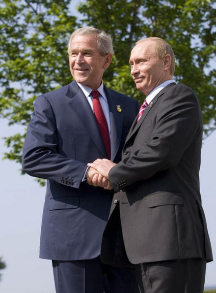 U.S. President George W. Bush and Russian President Vladimir Putin at the 33rd G8 summit, June 2007. The end of the Cold War allowed new co-operation between Russia and the West, but tensions remained. Bush&Putin33rdG8.jpg