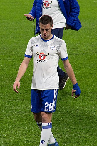 César Azpilicueta - Azpilicueta playing for Chelsea in 2017