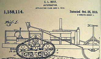 C. L. Best - Patent drawing of the C. L. Best autotractor from 1915