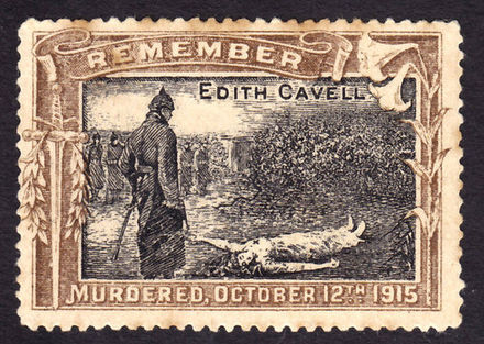 A propaganda stamp issued shortly after Cavell's death C. 1916 Edith Cavell propaganda stamp.JPG