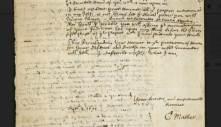 Letter from Cotton Mather to William Stoughton, September 2, 1692 important letter about the Salem witch trials