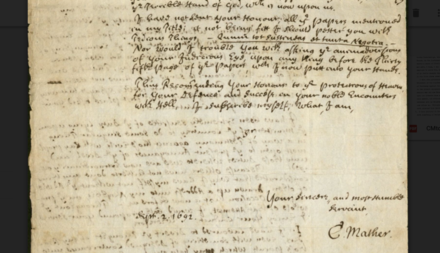 Letter from Cotton Mather to William Stoughton, September 2, 1692 C. Mather dated signature.png