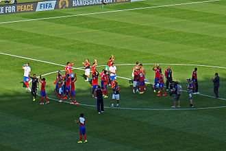 Costa Rica national football team - Costa Rica national football team players celebrating their classification at the FIFA World Cup 2014 for the round of 16 in first place of Group D at Mineirão stadium in Belo Horizonte after their draw with England.