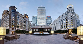 Canary Wharf - East view from Cabot Square.