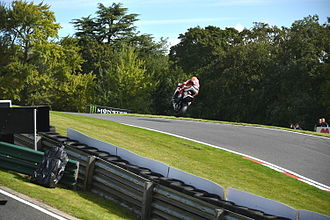 Cadwell Park - Josh Brookes aviating on a Milwaukee Yamaha British Superbike at The Mountain in 2014