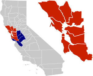 San Francisco Bay Area highlighted in red on a...
