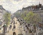Peinture impressionniste du large boulevard Montmartre bordé d'arbres avec des charrettes tirées par des chevaux dans les années 1890