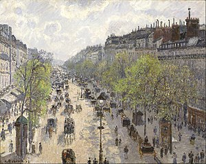 Le Boulevard de Montmartre, Matinée de Printemps - Image: Camille Pissarro Boulevard Montmartre, Spring Google Art Project