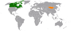 Map indicating locations of Canada and Mongolia