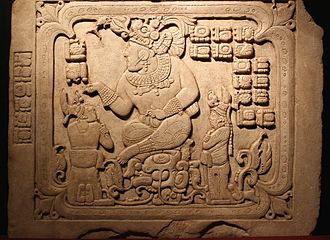 Ancient Maya art - Cancuen, panel 3, seated king with two subordinates. Second half 8th century.