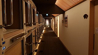 Capsule hotel Japanese hotels with small bed-sized rooms