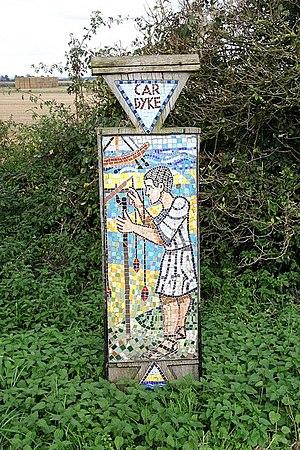 Car Dyke - Car Dyke mosaic sign near Martin, Lincolnshire