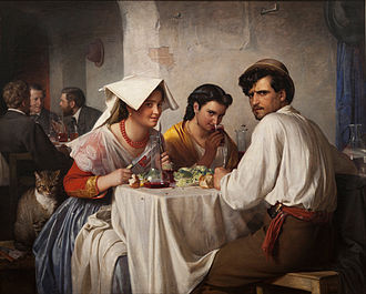 Osteria - Osteria in art: Carl Bloch's 1866 painting In a Roman Osteria from the National Gallery of Denmark, Copenhagen.