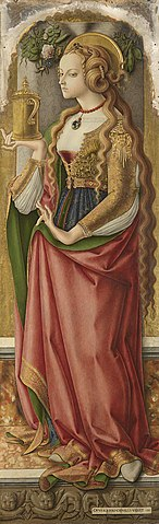Карло Кривелли. «Мария Магдалина», ок. 1480 г. Роскошно одетая, как и положено блуднице, Магдалина с длинными распущенными волосами держит в руках сосуд с благовониями