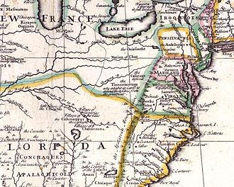 Monongahela culture - Clip from John Senex map ca 1710, showing the peoples Captain Vielle passed by in 1692 to reach Chaouenon country, as the French Jesuit called the Shawnee.