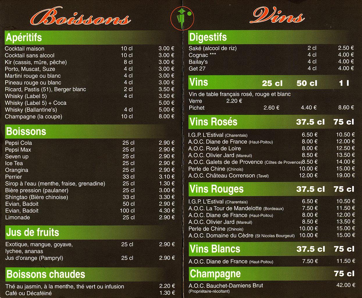 Menus Restaurant Le Laurier St Satur