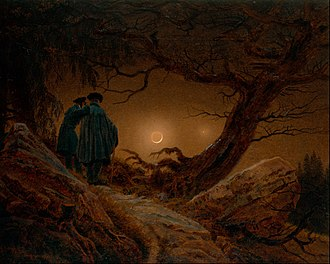 Two Men Contemplating the Moon - Two Men Contemplating the Moon, Galerie Neue Meister, 1819–20. 35 x 44.5 cm