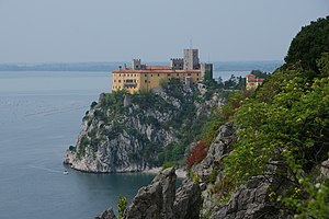 Rainer Maria Rilke - Duino Castle near Trieste, Italy, was where Rilke began writing the Duino Elegies in 1912—recounting that he heard the famous first line as a voice in the wind while walking along the cliffs and that he wrote it quickly in his notebook.