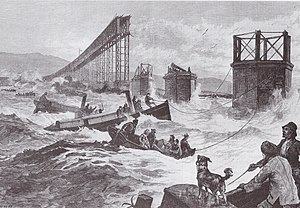 Tay Bridge disaster - Contemporary illustration of the search after the disaster